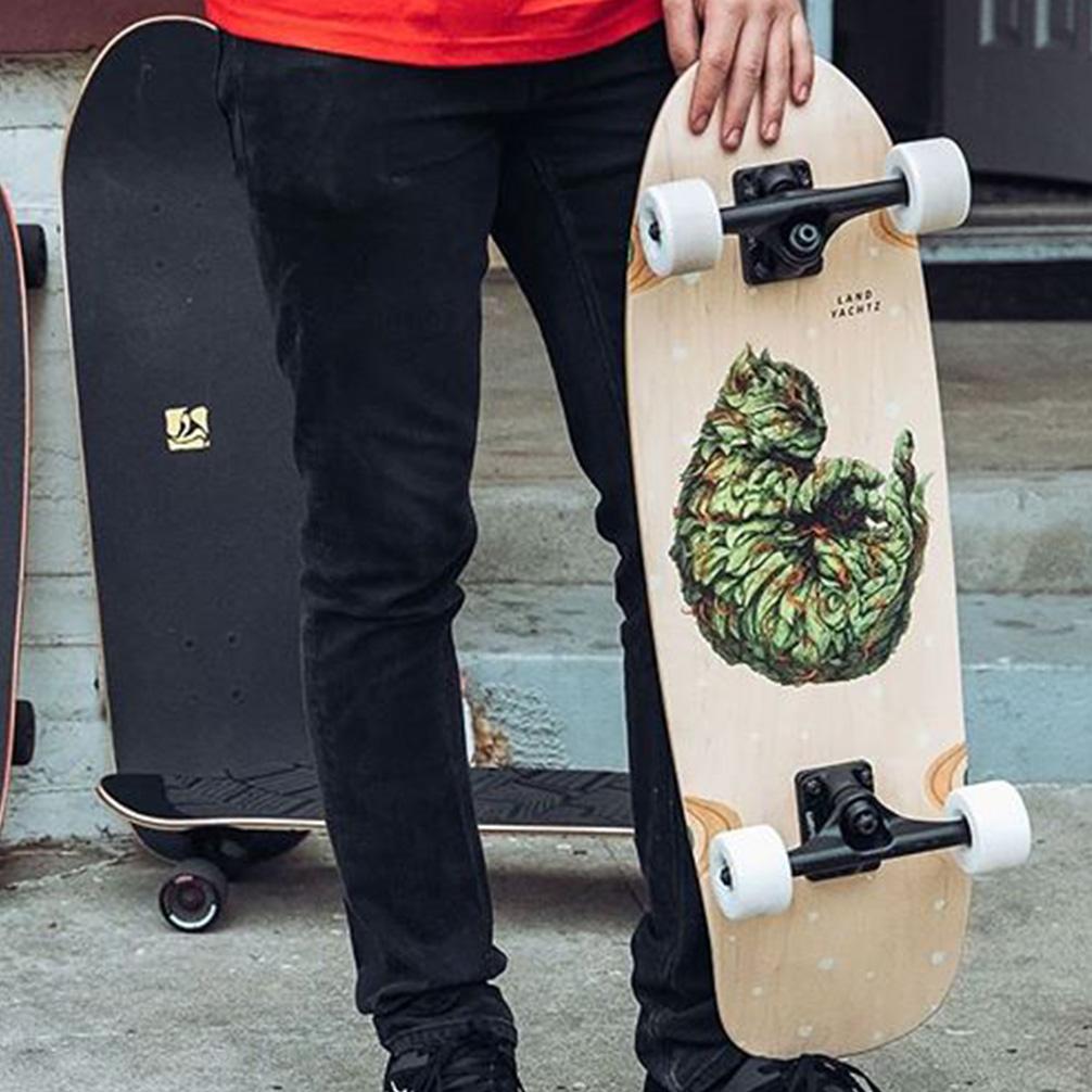 landyachtz tugboat meowijuana mini cruiser skateboard
